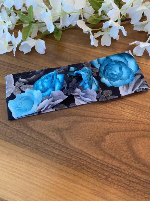 Bandeau pour femme fleur bleu