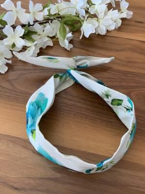 Bandeau pour femme avec broche intégré lin fleur bleu