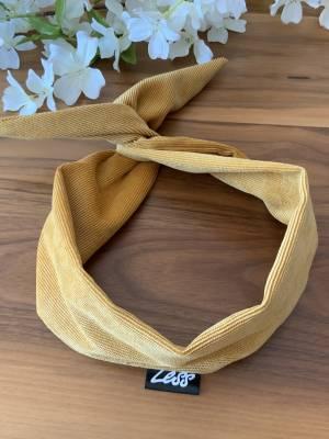 Bandeau pour femme avec broche intégrée style corduroy moutarde