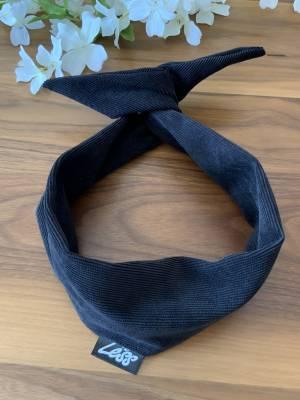 Bandeau pour femme avec broche intégrée style corduroy noir