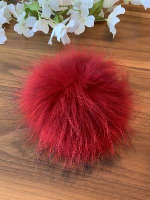 Pompon de fourrure recyclé rouge